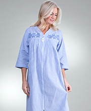 Long Zip Plus Robe - Miss Elaine Seersucker Robe in Navy Stripe