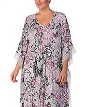 Ellen Tracy Plus Long V-Neck Rayon Blend Caftan in Pink Flurry