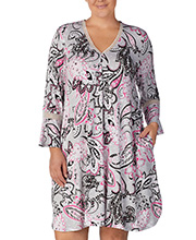 Women's Night Shirts - Ellen Tracy Long Sleeve Rayon Short Plus Gown in Pink Flurry