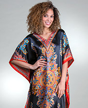 Sante Women's Satin Caftans - One Size Lounger in Black Elegance
