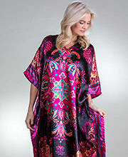 Plus Satin Caftans - Sante Long Women's Lounger in Vegas Nights