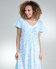 100% Cotton Knit Aria Short Sleeve Nightgown in Abstract Turquoise