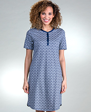 Cotton Sleep Shirts - Calida Short Sleeve Cotton Knit Short Gown In Night Shadow