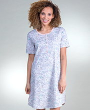 100% Cotton Knit Calida Short Sleeve Nightshirt in Sketch Floral