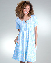 Carole Hochman Short Sleeve Cotton Knit Night Shirt in Blue Daisy