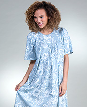 Calida Short Sleeve Nightgown - Cotton Knit in Summer Blue