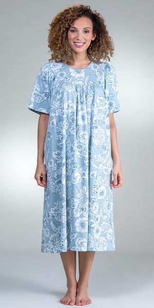 9cc5250f2bae Calida Short Sleeve Nightgown - Cotton Knit in Summer Blue