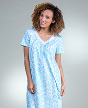 Carole Hochman Short Sleeve Cotton Nightgown in Aqua Leaf