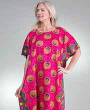 Women's Plus 100% Cotton Kaftan in Fuchsia Seaside