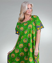 100% Cotton Long Kaftan in Green Seaside