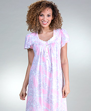 Aria Cotton Knit Short Sleeve Nightgown in Bubblegum Paisley