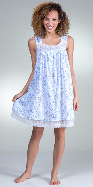 Eileen West Short Nightgowns - Cotton Lawn Sleeveless Nightgown in Floral  Darling ed55e27aa
