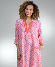 Women's Plus Kaftans - La Cera Woven Cotton 2/3 Sleeve in Mandolin Coral