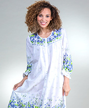 Plus Long Cotton Robe - La Cera Button Front Nightgown in Wildflower Bleu