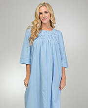 Long Miss Elaine Seersucker - Square Neck Smocked Zip Robe in Chambray Blue
