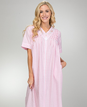 9cd9a4ed88346 Plus Seersucker Robes - Miss Elaine Long Zip Front Smocked Robe in Peach  Check