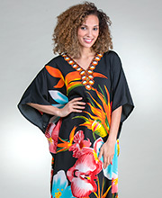 Winlar One Size Polyester Long Kaftan Loungers in Tropical Blooms