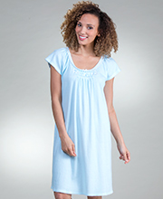 Miss Elaine Nightgowns - Short Cottonessa Knit Flutter Sleeve Gown in Turquoise Stripe