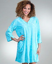 Short Miss Elaine Zip Front Micro Terry Robe in Bright Blue