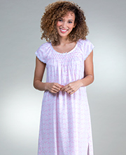 Miss Elaine Short Silkyknit Cotton Rich Smocked Gown in Pink Toile