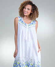 Plus La Cera Cotton Lawn Sleeveless Long Nightgown in Wildflower Bleu