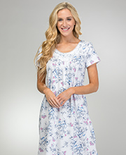 Carole Hochman Short Sleeve Cotton Modal Nightgown in Garden Bouquet