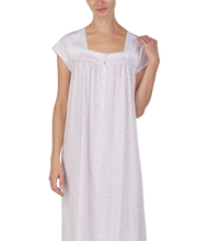 Eileen West Nightgowns - Cotton Knit Cap Sleeve in Blush Meadow