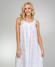 Eileen West Cotton Blend Sleeveless Long Nightgown - Sonata White