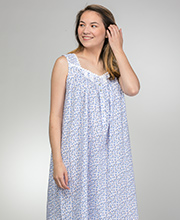 Eileen West Long Sleeveless Cotton Lawn Nightgown in Twilight Rose