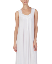 Eileen West Long Modal Knit Sleeveless Nightgown in Lacy White