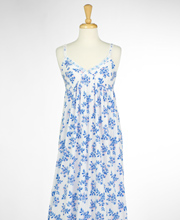 Eileen West V-Neck Long Cotton Modal Nightgown with Straps - Bluebird Bouquet