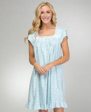 100% Cotton Knit Eileen West Cap Sleeve Nightgown in Peacock Daisy