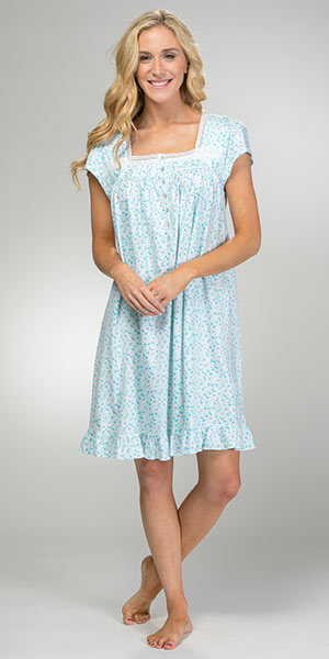 ba6be96b90 100% Cotton Knit Eileen West Cap Sleeve Nightgown in Peacock Daisy