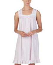 Eileen West Short Cotton Knit Sleeveless Nightgown in Blush Meadow