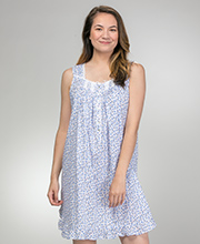 Eileen West Sleeveless Cotton Lawn Short Nightgown in Twilight Rose