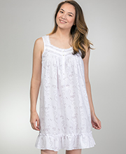Eileen West Short Nightgowns - Cotton Blend Sleeveless in Sonata White