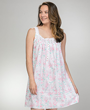 Short Eileen West Sleeveless Cotton Lawn Nightgown in Sweet Blush