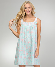 Eileen West Short Cotton Lawn Nightgown - Sleeveless in Sweet Mint