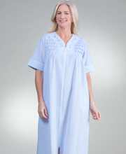 Miss Elaine Long Smocked Seersucker Zip Front Robe in Blue Stripe