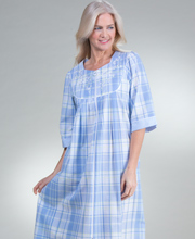 Long Miss Elaine Zip Front Seersucker Robe in Blue Plaid