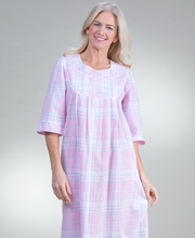 Zip Front Robes - Miss Elaine Long Seersucker Robe in Pink Plaid