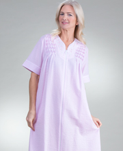 Seersucker Miss Elaine Robes - Long Smocked Zip Front in Pink Stripe