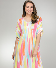 Ellen Tracy Rayon Spandex V-Neck Kaftan Lounger in Rainbow Sherbert