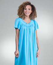 Plus Miss Elaine Classics Short Flutter Sleeve Nightgown in Marina Blue