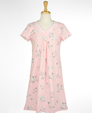 Miss Elaine Short Nightgown - Cotton Knit Short Sleeve in Silvery Floral