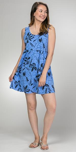 Plus Cover-Ups - Sleeveless Sun Moda 100% Cotton Short Sun Dress in Bold  Peri