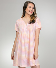 Sleep Shirts by Carole Hochman - Short Sleeve Cotton Knit Button Front in Sweet Delight