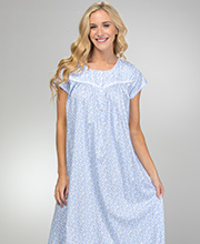 Eileen West Cotton Knit Nightgown - Cap Sleeve Gown in Blue Meadow