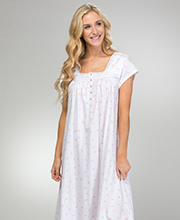 Eileen West Cotton Knit Nightgown - Cap Sleeve Long in Sweet Roses