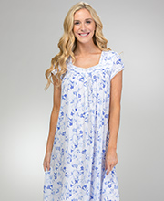 Eileen West Cotton Modal Nightgown - Mid-length Cap Sleeve in Blue Song